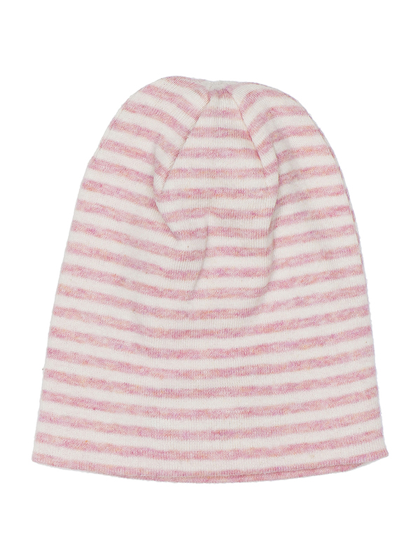 Căciuliță cu dungi roz, din bumbac organic