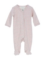 Costumaș bebeluși, dungi roz prăfuit, din bumbac organic