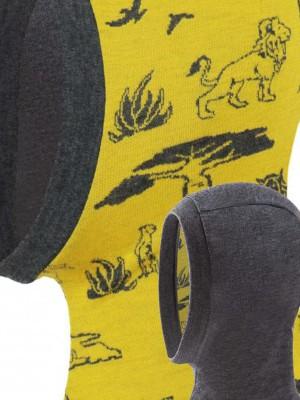 Cagulă dublată, cu două fețe, din lână merinos, model Africa/Grafit