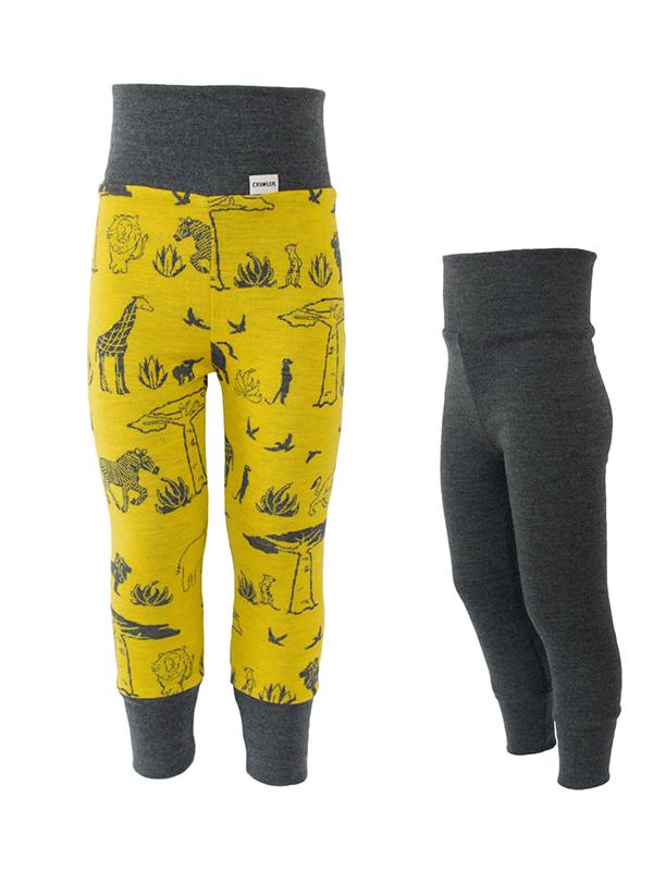 Pantaloni dublați pentru copii din lână merinos, model Africa/Grafit