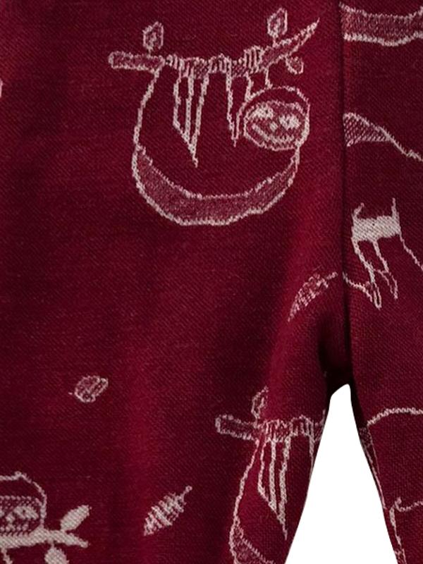 Pantaloni dublați pentru copii din lână merinos, model Leneș/Marsala