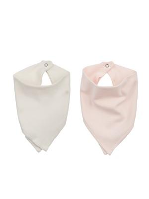 Set 2 eșarfe bebeluși, roz&ivoire, din bumbac organic