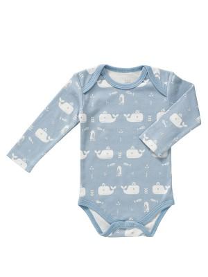 Body mânecă lungă 6-12 luni, din bumbac organic, model Whale blue