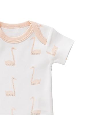 Body mânecă scurtă 0-3 luni, din bumbac organic, model Swan peach