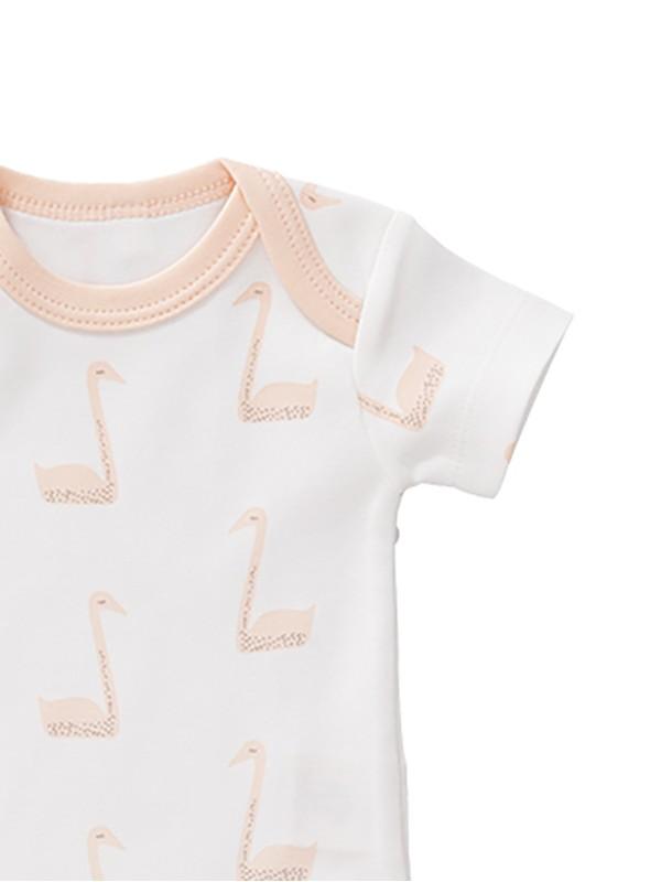 Body mânecă scurtă 6-12 luni, din bumbac organic, model Swan peach