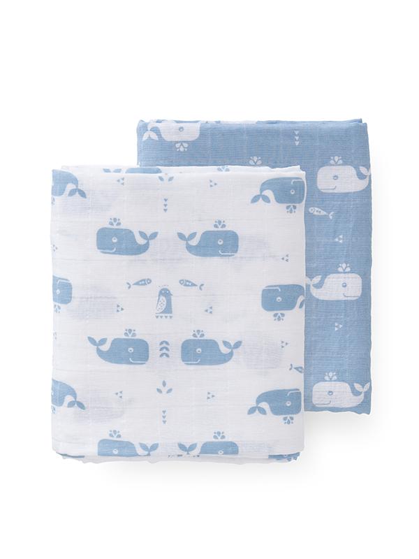Set 2 museline 120x120 cm, model Whale blue