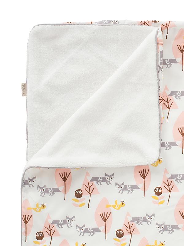 Păturică căptușită din bumbac organic, cu model Fox pink