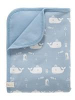 Păturică din bumbac organic, cu model Whale blue