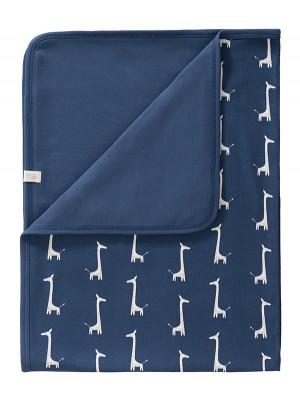 Păturică din bumbac organic, cu model Giraf indigo blue