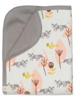 Păturică din bumbac organic, cu model Fox pink