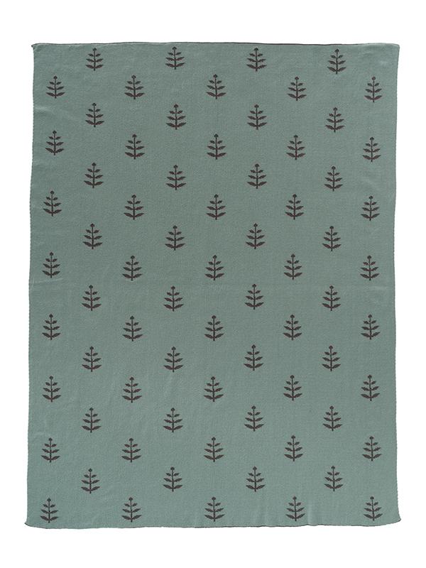 Pătură Fine Knitted, din bumbac organic, cu model Leaves