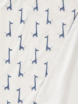 Prosop cu glugă, din bumbac organic, cu model Giraf Indigo Blue