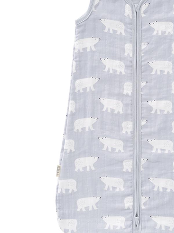 Sac de dormit de muselină, 6-12 luni, model Polar Bear