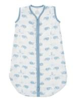 Sac de dormit de muselină, 0-6 luni, model Whale blue