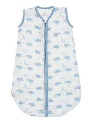 Sac de dormit de muselină, 6-12 luni, model Whale blue