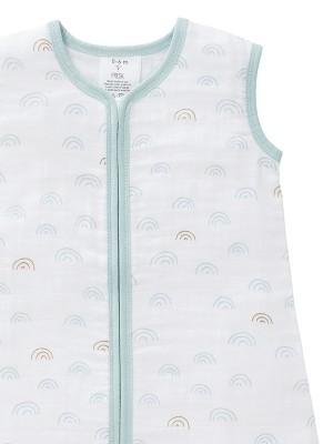 Sac de dormit de muselină, 12-18 luni, model Rainbow blue