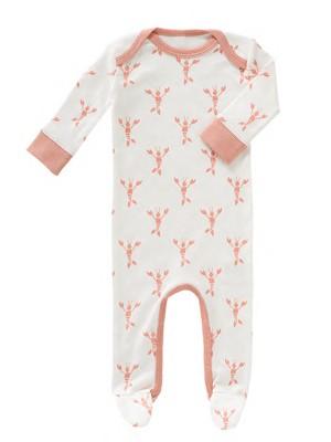 Salopetă bebeluși,  cu botoși, din bumbac organic, model Lobster pink