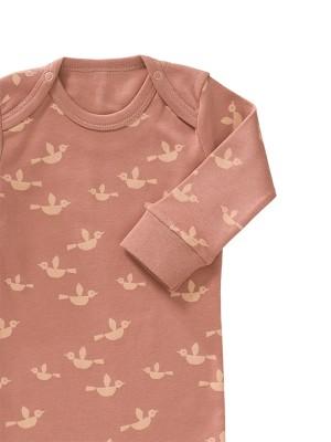 Salopetă bebeluși, cu botoși, din bumbac organic, model Birds