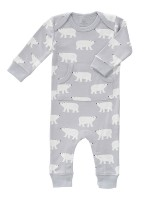 Salopetă bebeluși 6-12 luni,  fără botoși, din bumbac organic, model Polar Bear