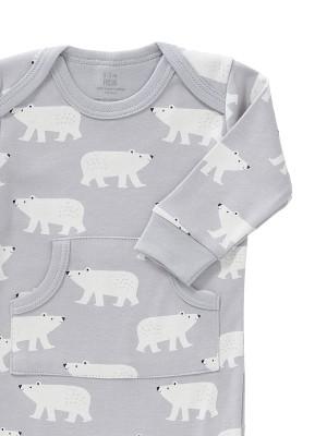 Salopetă bebeluși 3-6 luni,  fără botoși, din bumbac organic, model Polar Bear