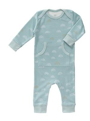 Salopetă bebeluși,  fără botoși, din bumbac organic, model Rainbow blue