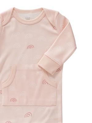 Salopetă bebeluși,  fără botoși, din bumbac organic, model Rainbow rose