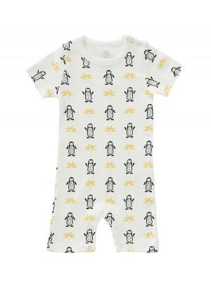 Salopetă de vară, pentru bebeluși 0-3 luni, din bumbac organic, model Pinguin