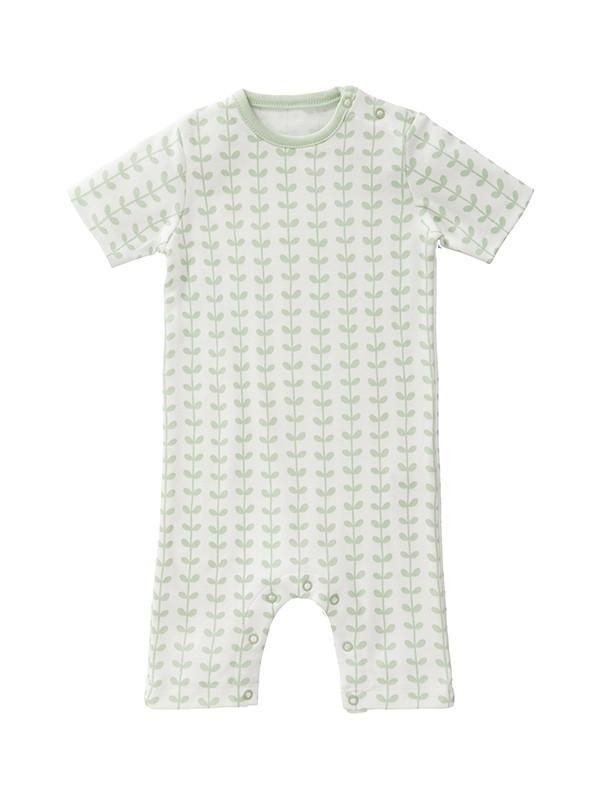 Salopetă de vară, pentru bebeluși 6-12 luni, din bumbac organic, model Leaves mint