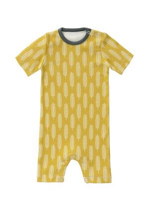 Salopetă de vară, pentru bebeluși 0-3 luni, din bumbac organic, model Havre yellow