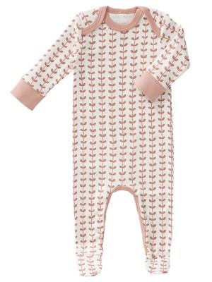 Pijama bebeluși, model frunze roz