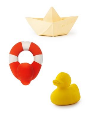 Set 3 jucării pentru băiță, din cauciuc natural, galben&vanilie&roșu