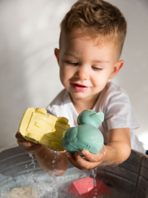 Set 2 jucării din cauciuc natural, rățuște mentă&buline