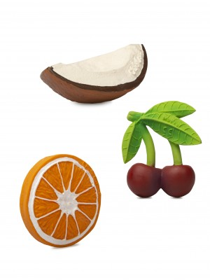 Set 3 jucării pentru dentiție, din cauciuc natural, Fructele Preferate