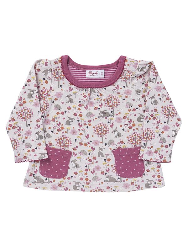 Bluză cu buzunare roz, din bumbac organic
