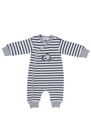 Costum bebeluși, în dungi bleumarin, din bumbac organic
