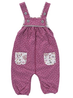 Costumaș cu bretele si buline roz, din bumbac organic