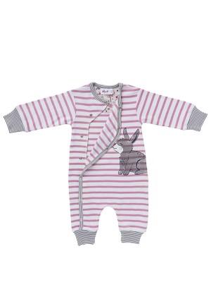 Costum bebeluși, în dungi roz, din bumbac organic