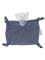 Jucărie ursuleț cu eșarfă albastră, din bumbac organic