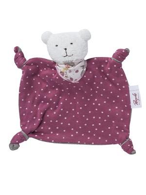 Jucărie pentru bebeluși din bumbac organic, ursuleț roz închis