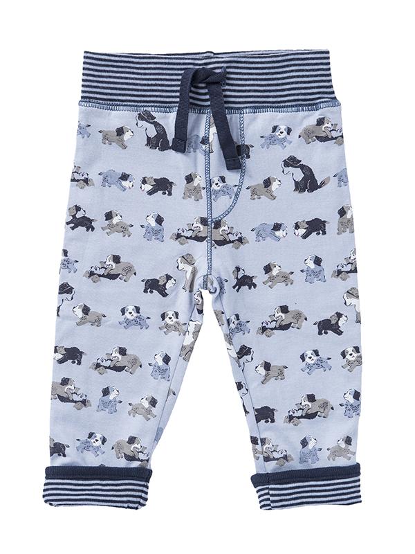 Pantaloni reversibili, cu model căteluși, din bumbac organic