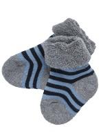 Șosete groase bebeluși, în dungi albastre și bleumarin, din bumbac organic