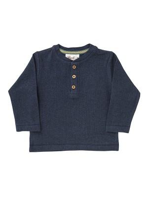 Bluză Henley, bleumarin, din bumbac organic