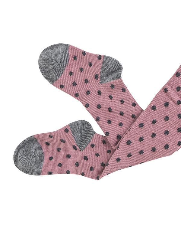 Dresuri fetițe, roz cu buline gri, din bumbac organic (mărimi mari)