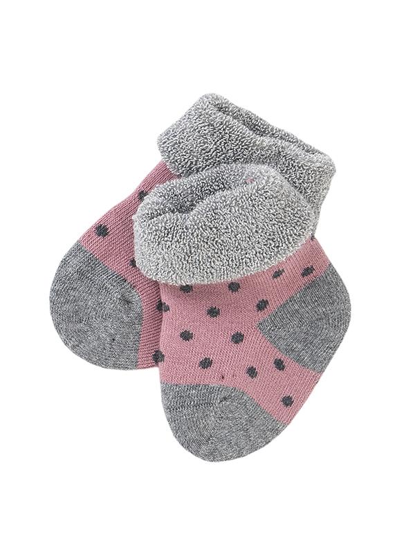 Șosete groase bebeluși, roz cu buline gri, din bumbac organic