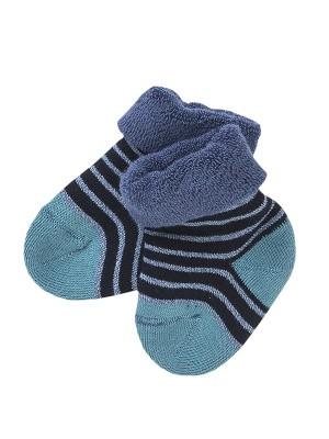Șosete groase bebeluși, cu dungi bleu, din bumbac organic