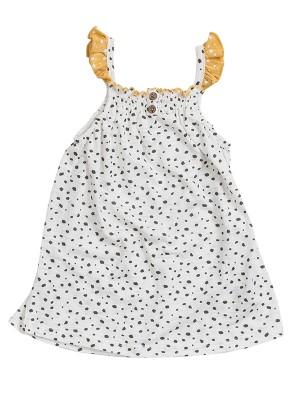 Rochiță de vară, cu bretele galbene, din bumbac organic