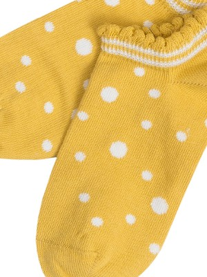 Șosete scurte copii, cu buline galbene, din bumbac organic (mărimi mari)