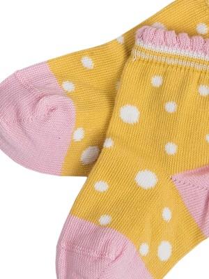 Șosete bebeluși de vară, cu buline galbene, din bumbac organic
