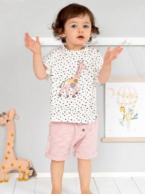 Tricou văratic pentru fetițe, cu model girafă, din bumbac organic