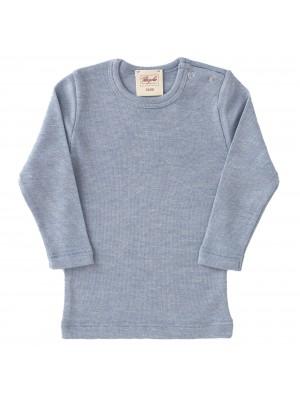 Bluză lână, bumbac organic și mătase, azurie